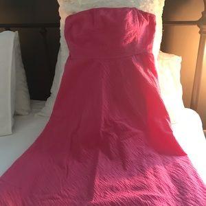 J. Crew pink, seersucker, strapless dress